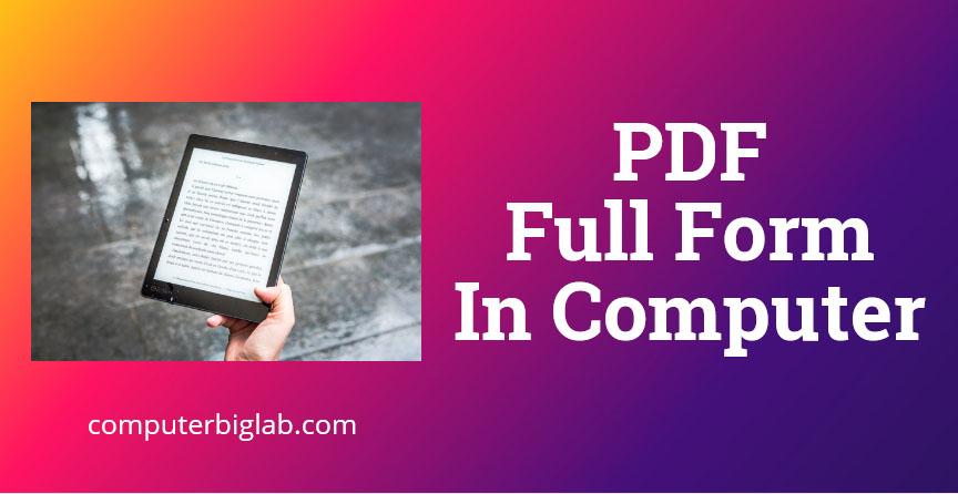 PDF Full Form In Computer